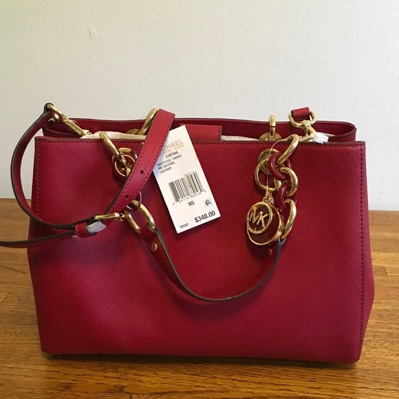2a2953016922 NWT Michael Kors Cherry Cynthia Md Leather Satchel